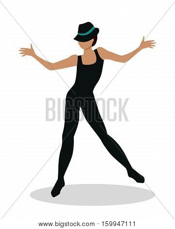 Jazz dancer in hat and long black suit. Tap Dance, Jitterbug, Swing dance, Lindy Hop, Modern jazz dance. Person entertain public on the fashion show at musical party. Fashion event. Vector