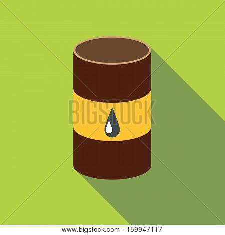 Metal barrel with oil icon. Flat illustration of metal barrel with oil vector icon for web