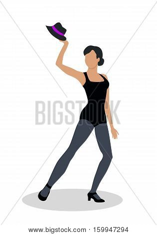 Jazz dancer in black tights launches with a hat. Dance to jazz music, including both tap dance and jitterbug. Graceful girl dance in tight cloth. Culture and entertainment. Vector illustration
