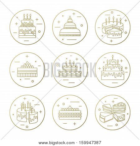 Cake with candle vector icons line set isolated. Sweet dessert illustration. Happy birthday wedding party celebration food collection. Bakery, cafe, restaurant design elements. Chocolate cream slice