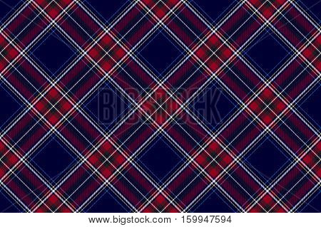 Blue red diagonal check fabric texture seamless pattern