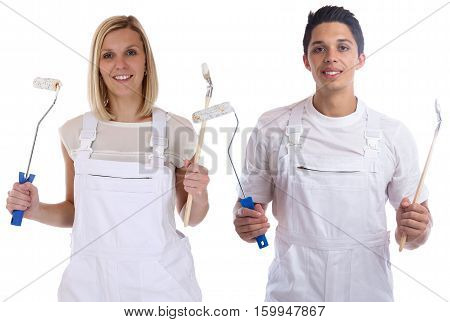 Young House Painters And Decorators Apprentice Trainee Man Woman Job Isolated