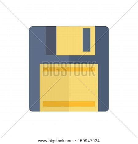 Floppy disk isolated on white background. Magnetic computer classical data storage support. Floppy disk or save flat icon for apps and websites. Vintage technology. Vector in flat style design