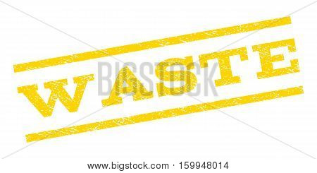 Waste watermark stamp. Text caption between parallel lines with grunge design style. Rubber seal stamp with dirty texture. Vector yellow color ink imprint on a white background.