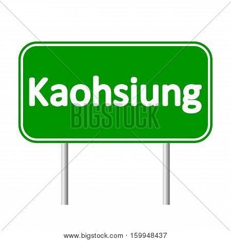 Kaohsiung road sign isolated on white background.