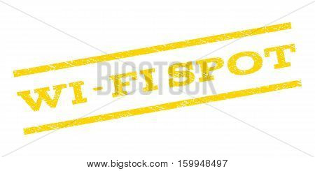 Wi-Fi Spot watermark stamp. Text caption between parallel lines with grunge design style. Rubber seal stamp with dirty texture. Vector yellow color ink imprint on a white background.