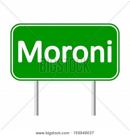 Moroni road sign isolated on white background.