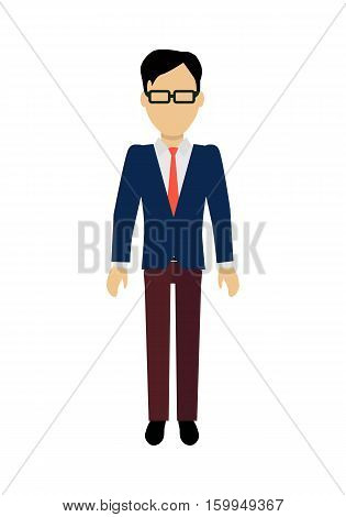 Male character without face in blue pullover vector. Flat design. Man template personage illustration for concepts with humans, mobile app pictogram, logos, infographic. Isolated on white background.