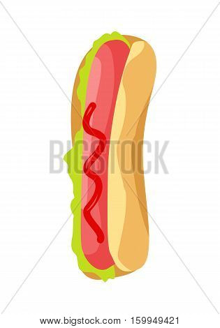Hot dog with sausage, green salad leaves, ketchup and bread isolated on white background. American hot dog sandwich. Illustration of delicious tasty fast food.