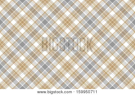 Gold silver check fabric seamless background. Vector illustration.