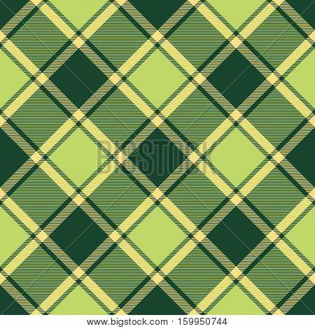 Green ireland tartan plaid seamless fabric diagonal texture. Vector illustration. Flat design. No gradient. No transparent. EPS 10.
