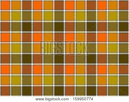 Green orange khaki check seamless background. Vector illustration. Flat design. EPS10.
