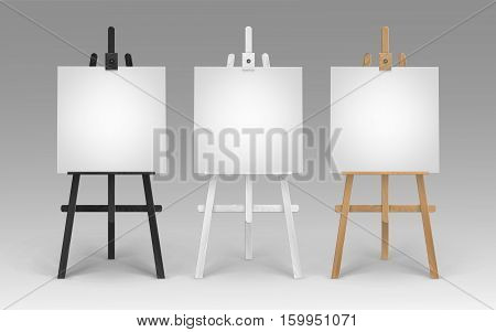 Vector Set of Wooden Brown Black White Sienna Easels with Mock Up Empty Blank Square Canvases Isolated on Background
