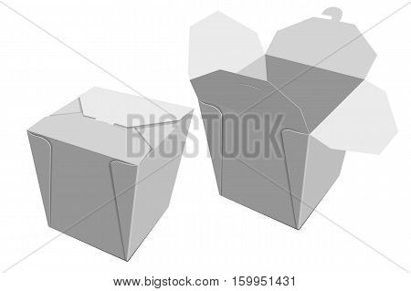 White Paper Container Of Chinese Food. Storage Box Delivery. Vector