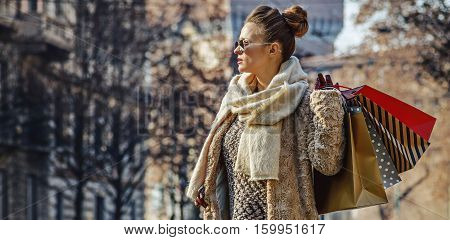 Traveller Woman Near Sforza Castle Looking Into Distance