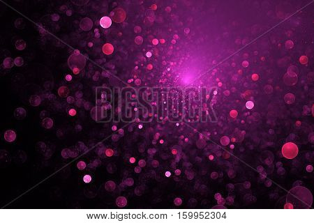 Supernova Explosion. Abstract Colorful Pink Sparks On Dark Background. Fantasy Fractal Texture For P