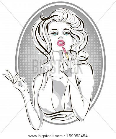 Pin-up Fashion Beautiful Woman Applying Pink Lipstick, Pop Art Girl Putting Makeup Vector