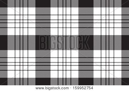 Seamless fabric texture. Vector illustration. Black and white
