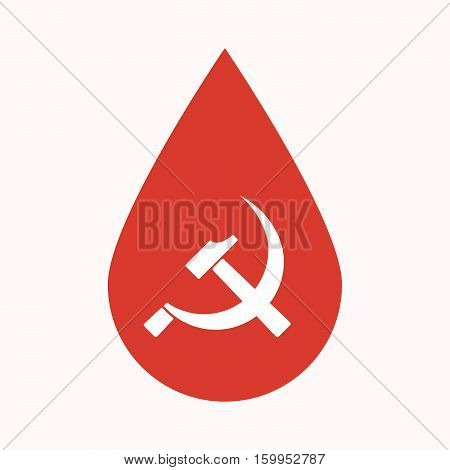 Isolated Blood Drop With  The Communist Symbol