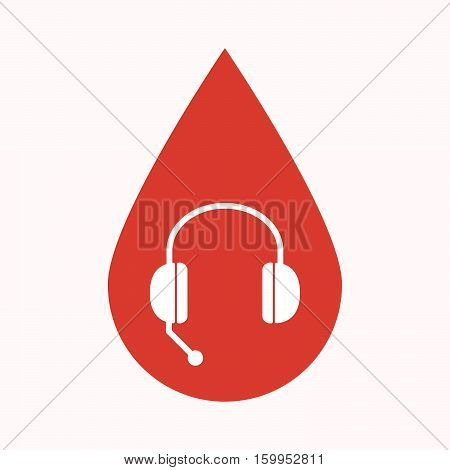 Isolated Blood Drop With  A Hands Free Phone Device