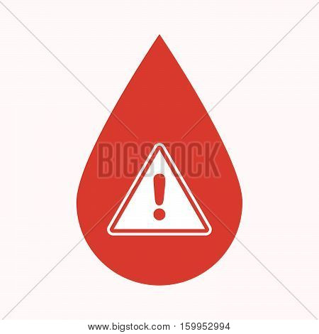 Isolated Blood Drop With A Warning Signal