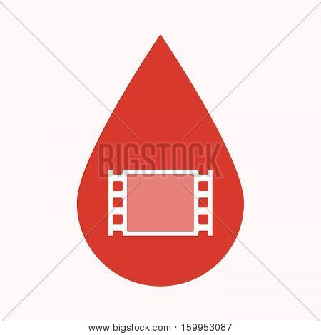 Isolated Blood Drop With A Film Photogram