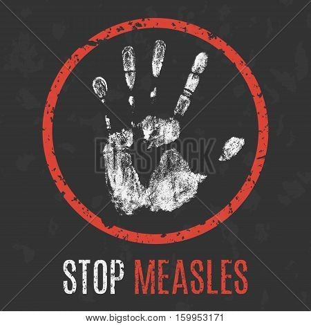 Conceptual vector illustration. Human diseases. Stop measles.