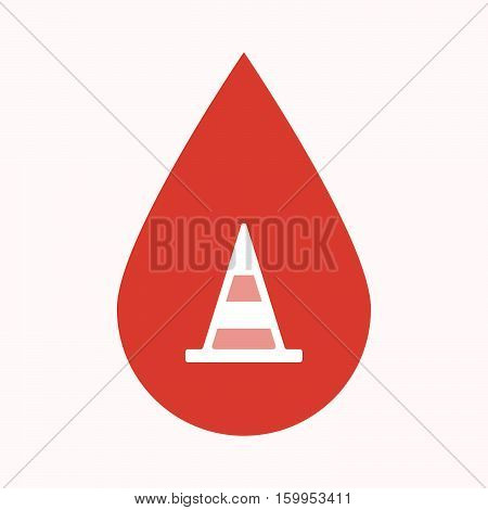 Isolated Blood Drop With A Road Cone