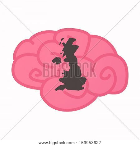 Isolated Brain With  A Map Of The Uk
