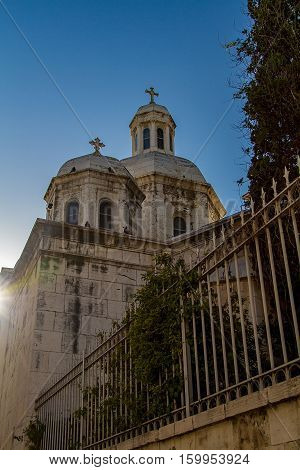 Roman Catholic Church of the Condemnation and Imposition of the Cross view from Via Dolorosa street in the sunset light in the Old City of Jerusalem Israel.