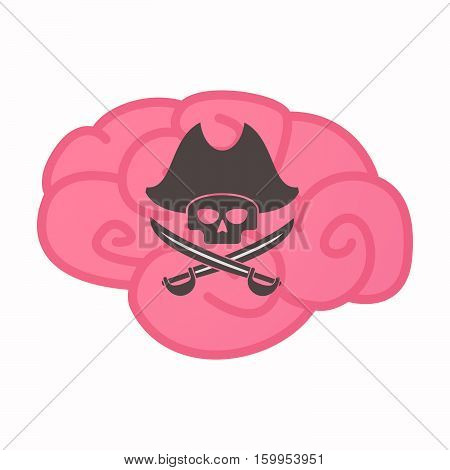 Isolated Brain With A Pirate Skull