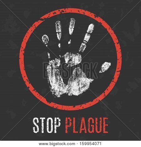 Conceptual vector illustration. Human diseases. Stop plague.