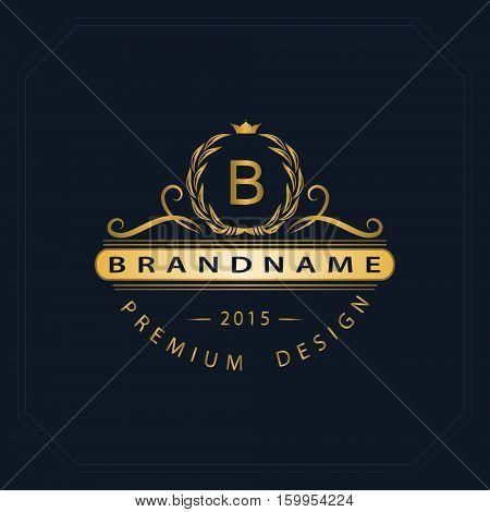 Monogram design elements graceful template. Calligraphic elegant line art logo design. Letter emblem sign B for Royalty business card Boutique Hotel Heraldic Jewelry. Vector illustration