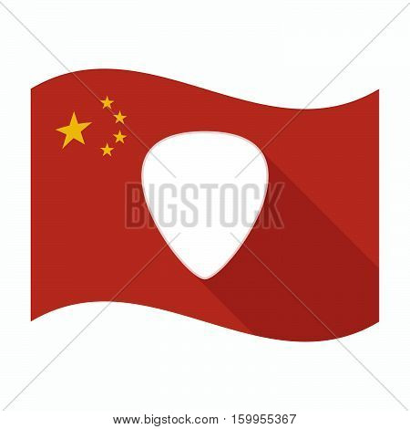 Isolated China Flag With A Plectrum