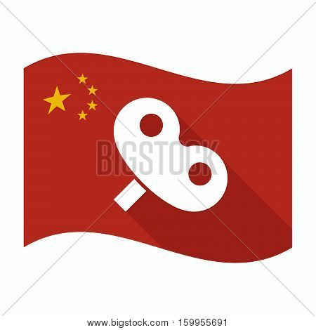 Isolated China Flag With A Toy Crank