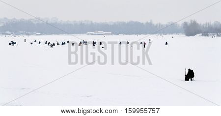 Landscape Fisherman On Winter Fishing Far View