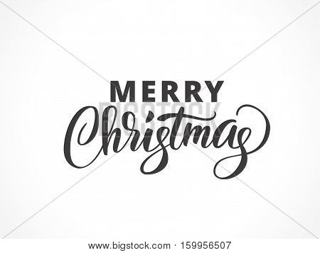 Merry christmas typography with brush lettering. Christmas logo, hand drawn text, calligraphy for your design. EPS10 vector illustration.