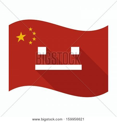 Isolated China Flag With A Emotionless Text Face