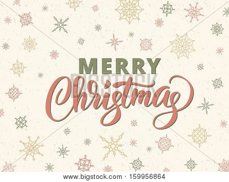 Merry christmas card with typography against background with snowflakes. Merry christmas brush lettering, hand drawn text, retro style calligraphy for your design. EPS10 vector illustration.