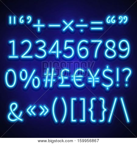 Glowing neon numbers, text symbols and currency signs vector typeset, font. Neon signs of currency dollar and euro, brackets neon and symbol percentage illustration