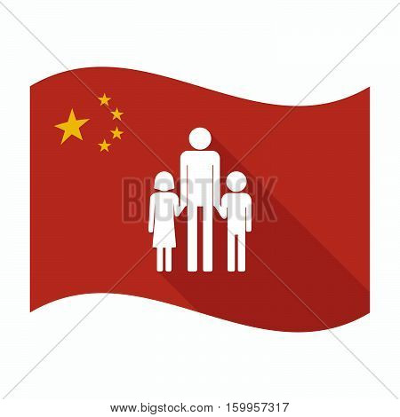 Isolated China Flag With A Male Single Parent Family Pictogram