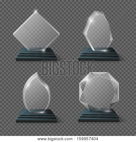Clear glass award certificates, goals team crystal trophies stock vector. Glossy panel award prize, glass clean prize illustration