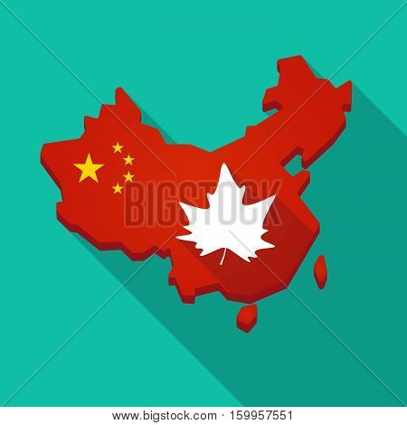 Long Shadow China Map With An Autumn Leaf Tree