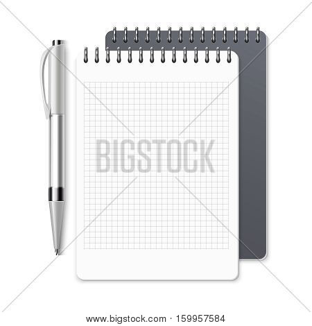 Notebook, empty spiral notepad and pen vector template for corporate identity. Open notebook organizer with oen, illustration of clean page of notebook