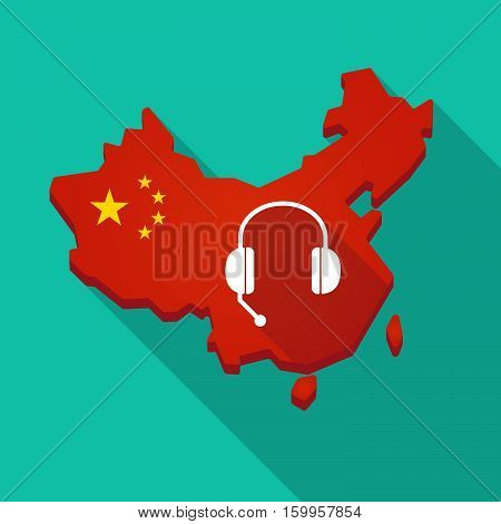 Long Shadow China Map With  A Hands Free Phone Device