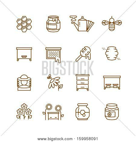 Honey, bee, beekeeping thin line vector icons set. Honey comb and farm honey illustration