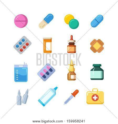 Medicine cartoon pill, drug, table, antibiotics, medication dose flat icons. Color icons drug for medication, vitamin chemical drugs illustration