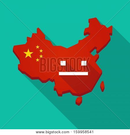 Long Shadow China Map With A Emotionless Text Face