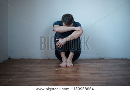 Desperate man in trouble feeling depressed and lonely