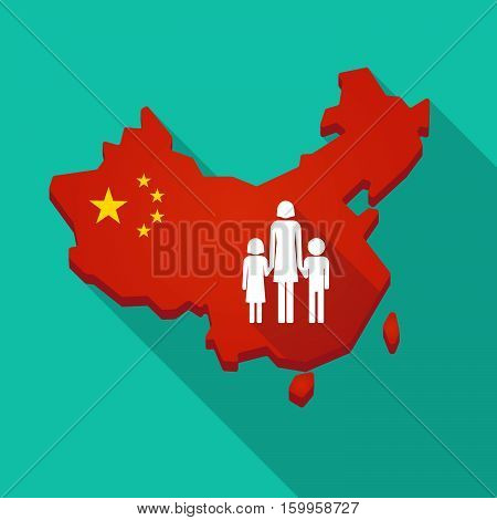 Long Shadow China Map With A Female Single Parent Family Pictogram